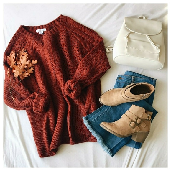 f06f0e81da FALL SALE Rust chunky knit sweater